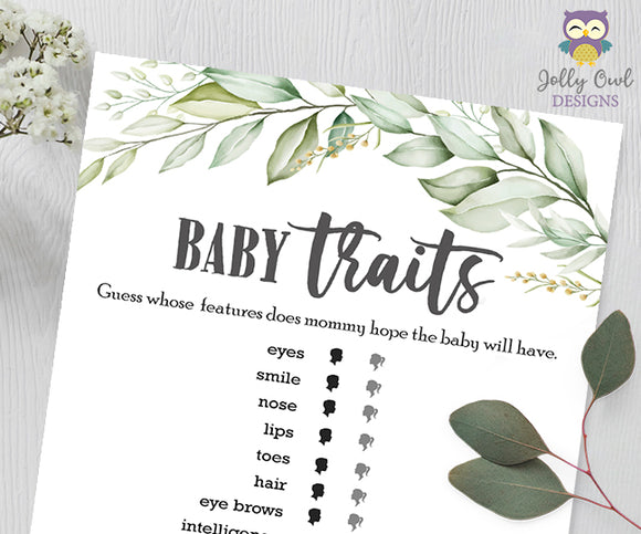 Botanical Greenery Baby Shower Game - Baby Traits or Features