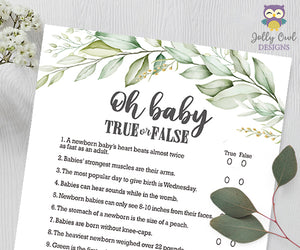 Botanical Greenery Baby Shower Game - Oh Baby True Or False
