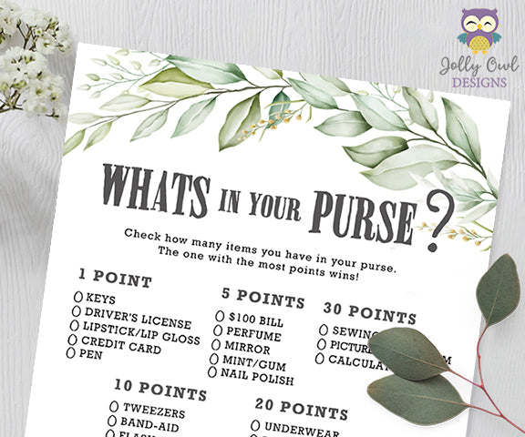 Botanical Greenery Baby Shower Game - What's In Your Purse