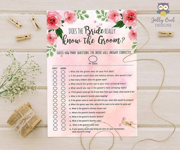 Floral Watercolor Themed Bridal Shower Game Does the Bride Knows the Groom?