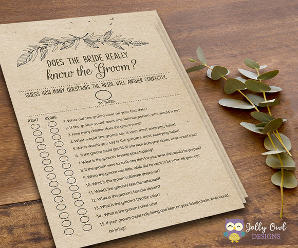 Rustic Themed Bridal Shower Game Does the Bride Knows the Groom? - Jolly Owl Designs