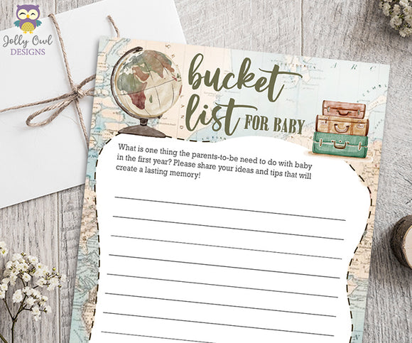 Baby Bucket List Card - Travel Themed Baby Shower Game Activity