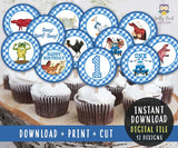Little Blue Truck Cupcake Toppers | Birthday Party Circles for Age 1