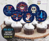 COCO Cupcake Toppers  I  Birthday Party Circles