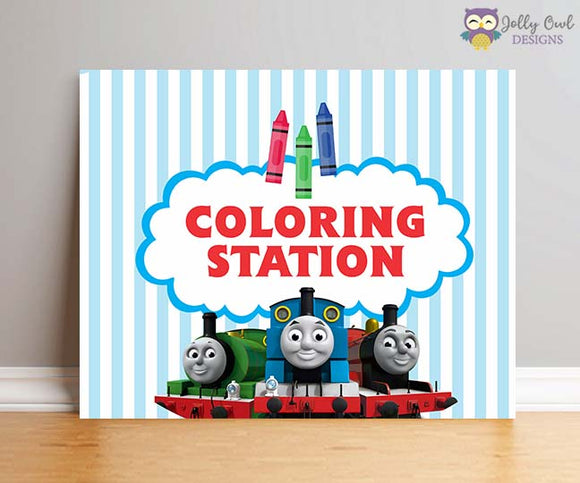 Thomas The Train Birthday Party Sign - Coloring Station - Jolly Owl Designs
