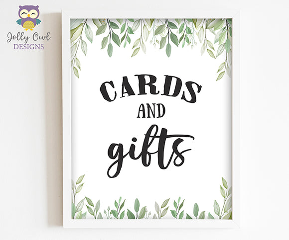Botanical Greenery Baby Shower Party Sign - Cards and Gifts