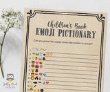 Children's Book Emoji Pictionary Baby Shower Game - Rustic Kraft