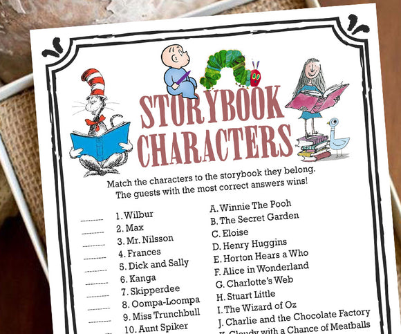 Storybook Book Themed Baby Shower Game - Guess and Match The Book Character