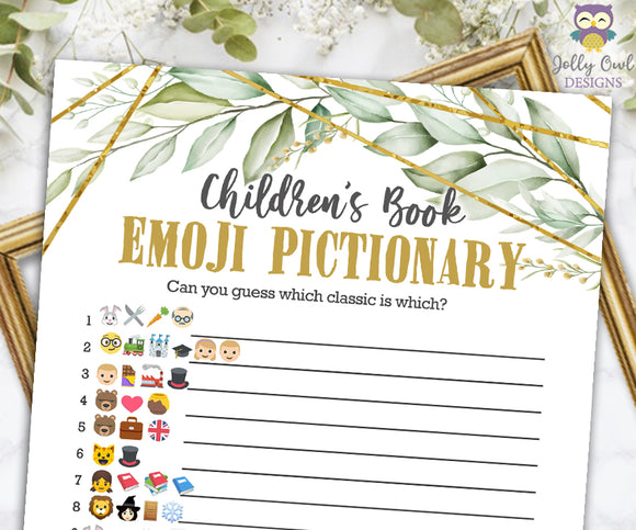 Gold Geometric Botanical Greenery Baby Shower Game - Children's Book Emoji Pictionary