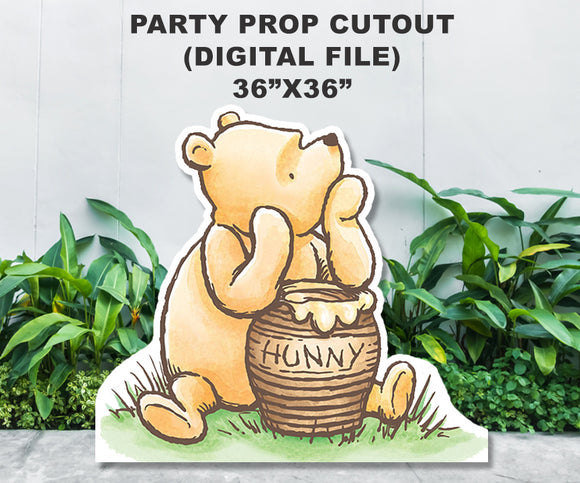 Digital Party Prop Standee Cutout - Classic Winnie The Pooh with Hunny Jar