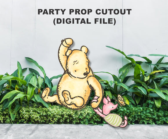 Digital Party Prop Standee Cutout - Piglet and Pooh Holding Balloon