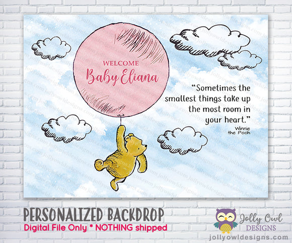 Classic Winnie The Pooh Holding Pink Balloon Backdrop - For Baby Shower / Birthday