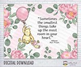 Classic Winnie The Pooh Holding Pink Balloon Backdrop - For Baby Shower / Birthday - INSTANT DOWNLOAD