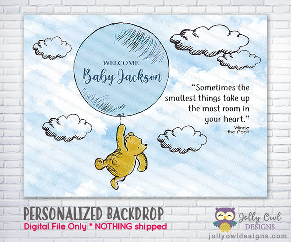 Classic Winnie The Pooh Holding Balloon Backdrop - For Baby Shower / Birthday