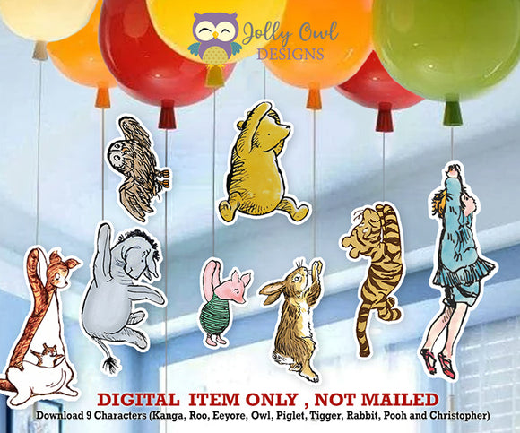 Digital Party Prop Cutout - Classic Winnie The Pooh Balloon Decoration