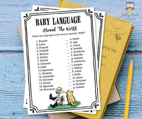 Classic Winnie The Pooh Baby Shower Game Baby Language Around The World