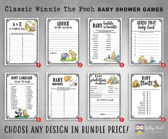 Classic Winnie The Pooh Baby Shower Games - Bundle Set
