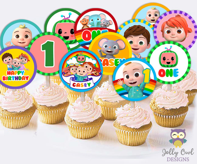 Cocomelon Birthday Party Personalized Cupcake Topper Digital Only Jolly Owl Designs