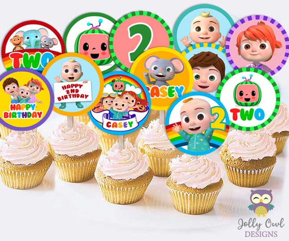 Cocomelon Birthday Party - PERSONALIZED Cupcake Topper
