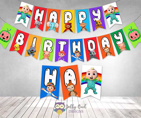 Cocomelon Happy Birthday Party Banner - Printable