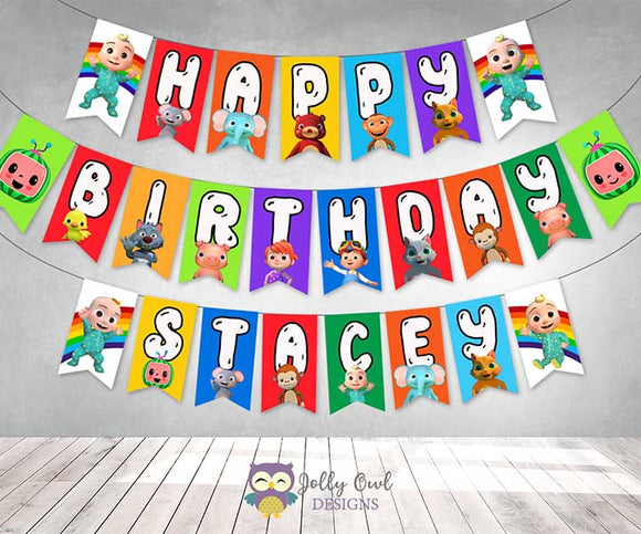 Cocomelon Happy Birthday Party Banner - Personalized