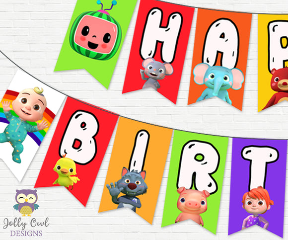 Cocomelon Happy Birthday Party Banner - Digital Printable