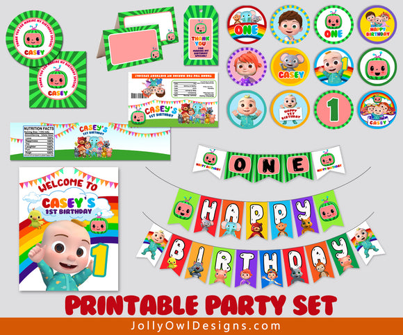 Personalized Cocomelon Birthday Party Decoration Package - Digital Kit