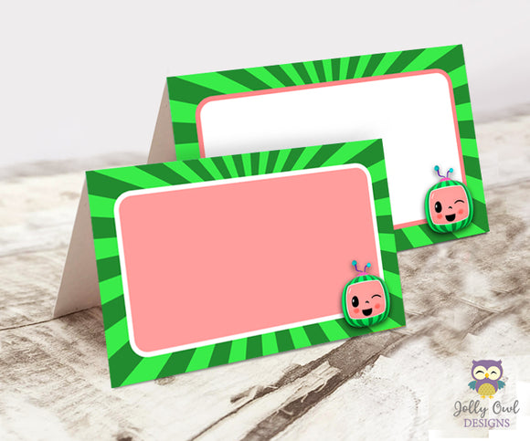 Blank Food Tent Label for Cocomelon Birthday Party - Digital File