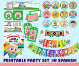 Personalized Cocomelon Birthday Party Decoration Package - Spanish Version