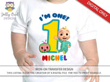 Cocomelon Party Printable Tshirt Iron On Transfer - Personalized For Age 1