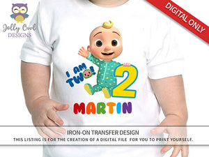 Cocomelon Party Printable Tshirt Iron On Transfer - Personalized For Age 2