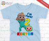 Cocomelon Birthday Party Printable T-shirt Iron On Transfer - African American - Personalized For Age 2