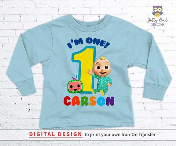 Cocomelon Party Printable Tshirt Iron On Transfer - Personalized