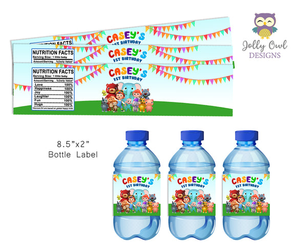 Water Bottle Label for Cocomelon Birthday Party - Digital File