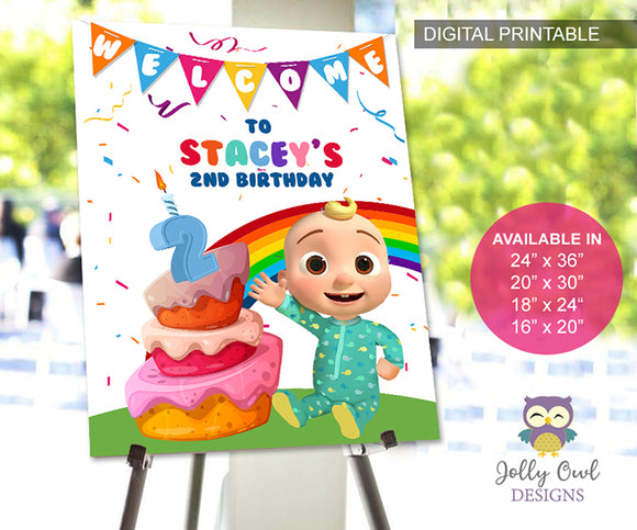 Cocomelon Birthday Party Welcome Sign - Personalized