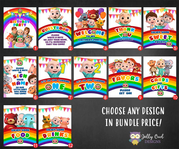 Cocomelon Birthday Party Table Signs Package Bundle Set - Digital Printable