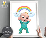 Cocomelon Birthday Gift Idea - Baby JJ with Rainbow - Printable Wall Art Decor for Bedroom Nursery Room
