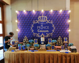 Prince Crown Blue and Gold Backdrop