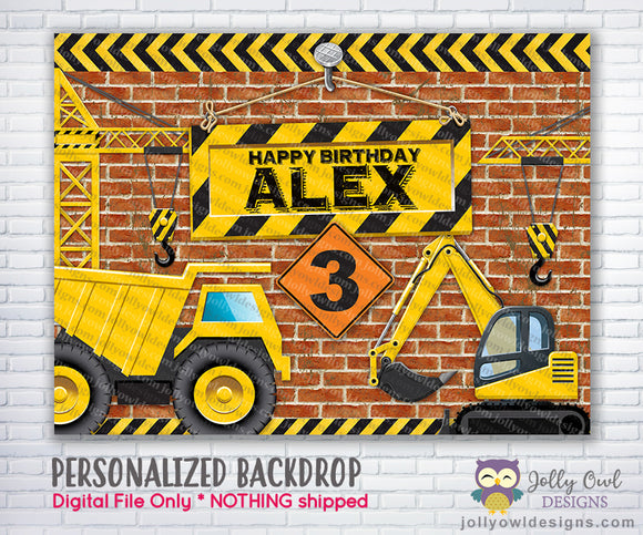 Construction Theme Birthday Backdrop