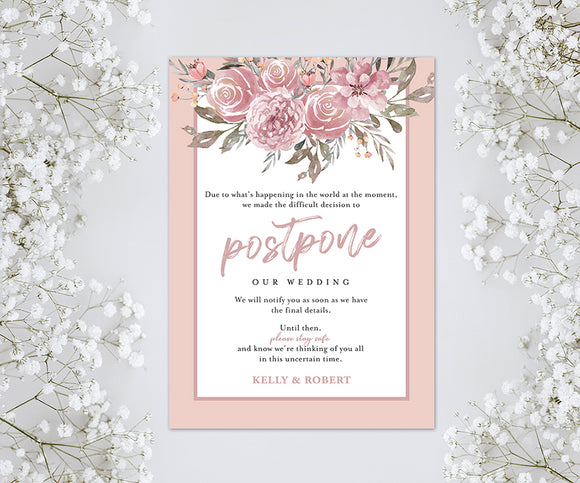 Wedding or Bridal Shower Postponement Digital Announcement Card