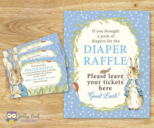 Peter Rabbit Baby Shower - Diaper Raffle Sign and Tickets