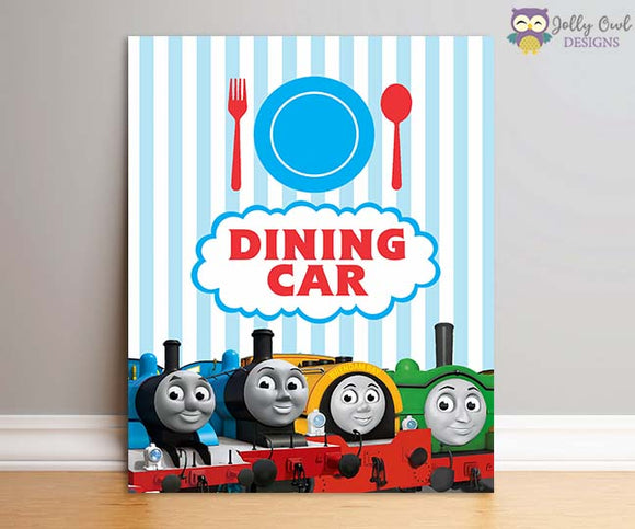 Thomas The Train Birthday Party Sign - Dining Car - Jolly Owl Designs