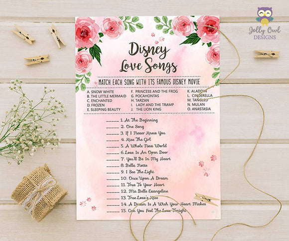 Floral Watercolor Themed Bridal Shower Game Disney Love Songs