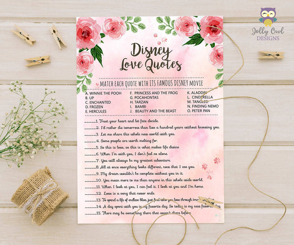 Floral Watercolor Themed Bridal Shower Game Disney Love Quotes