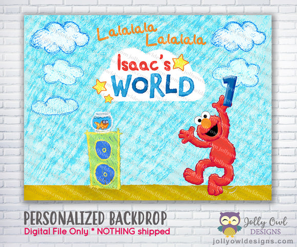 Elmo's World Birthday Party Backdrop - Digital File