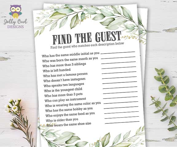 Botanical Greenery Bridal Shower Game - Find The Guest