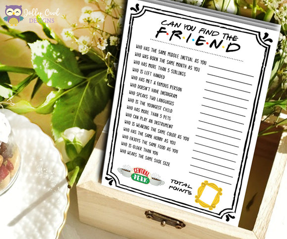 Friends TV Show Bridal Shower - Find The Friend or Guest game