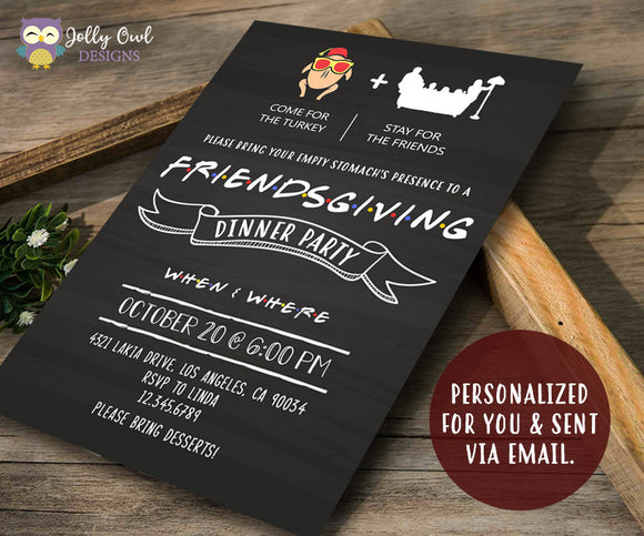FRIENDS TV Show Thanksgiving Party Invitation