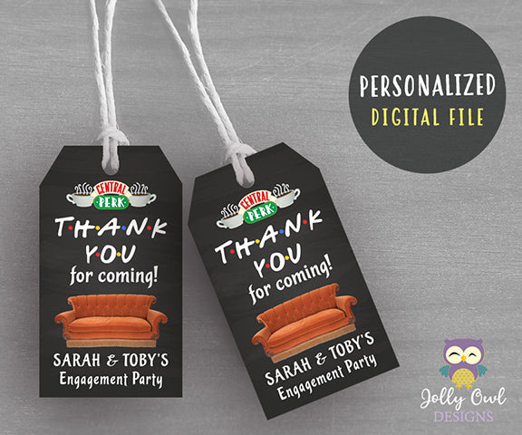 Friends TV Engagement Party Thank You Tag