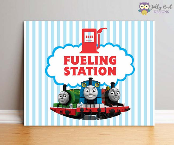 Thomas The Train Birthday Party Sign - Fueling Station - Jolly Owl Designs